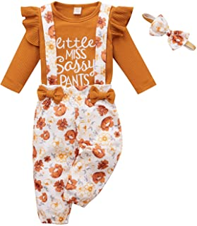 Toddler Baby Girl Clothes Ribbed Long Sleeve T-Shirt Top Funny Floral Suspender Pants Bow Headband Set