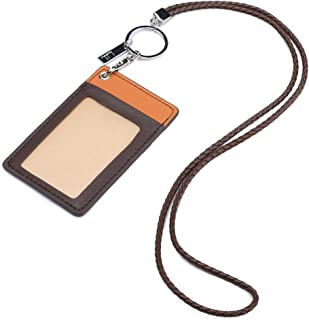 Jagucho Leather Badge Holder with Lanyard, Name Tags ID Card Holders, Name Labels for Men Women Business Office School (Co...
