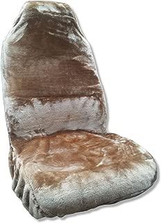 Unique Imports Synthetic Sheepskin Seat Cover Plush Fleece Single High Back Tan Fits Dodge