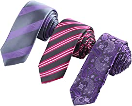 Epoint Multicolors Silk Men`s Set of 3 Skinny Ties Grooms Gift