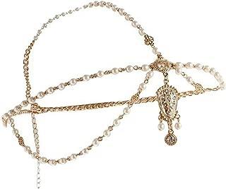 Wiipu Bohemian Gypsy Pearl Head Chain Headpiece Hair Band Headband(A1676)