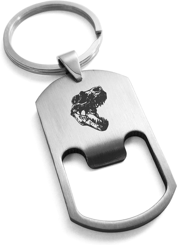 Tioneer Stainless Steel Tyrannosaurus Rex Skull Bottle Opener Dog Tag Keychain Keyring