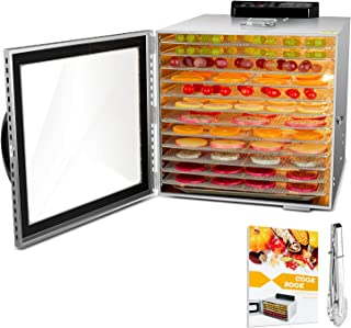 Food Dehydrator, 12 Layers Commercial Stainless Steel Fruit Dehydrator, 1000W Professional Adjustable Temperature Control ...