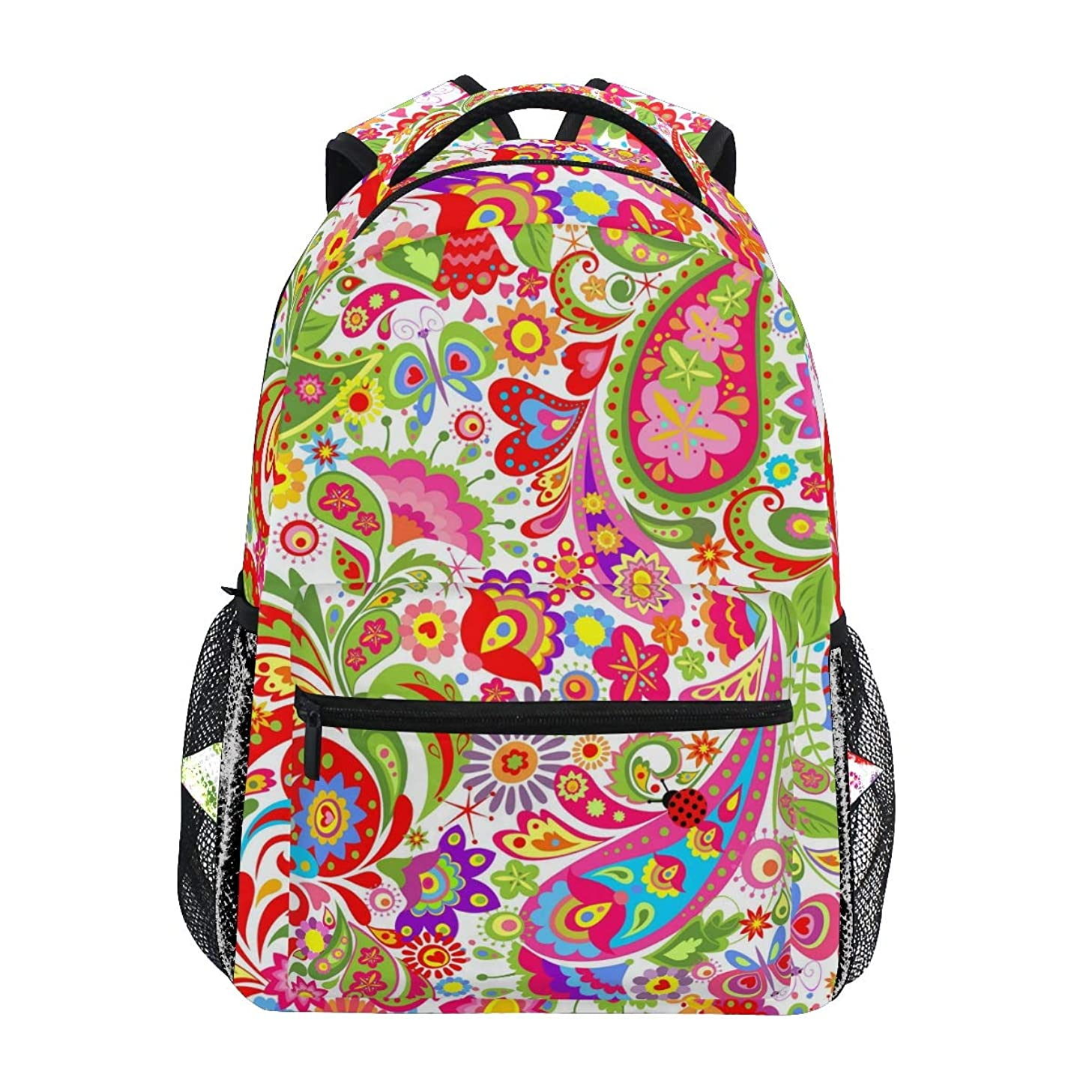 MAHU Backpack Spring Flower Leaves Paisley Adults School Bag Casual College Bag Travel Zipper Bookbag Hiking Shoulder Daypack for Women Men