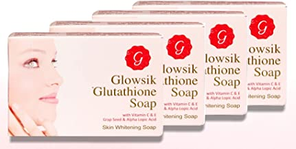 GLOWSIK GLUTA. SOAP FOR SKIN WITH VITAMIN C AND GRAPE SEED - 100 GMS (PACK OF 4.)