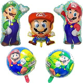 5 Pcs Super Mario Bros Foil Balloons for Kids Gift Birthday Party Supplies Decor
