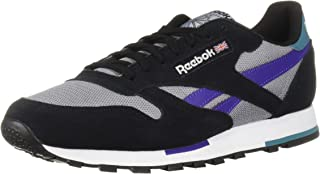 Reebok Men's Classic Leather Sneaker, Black/White/Cool Shadow/Mist/Purple, 3.5 M US