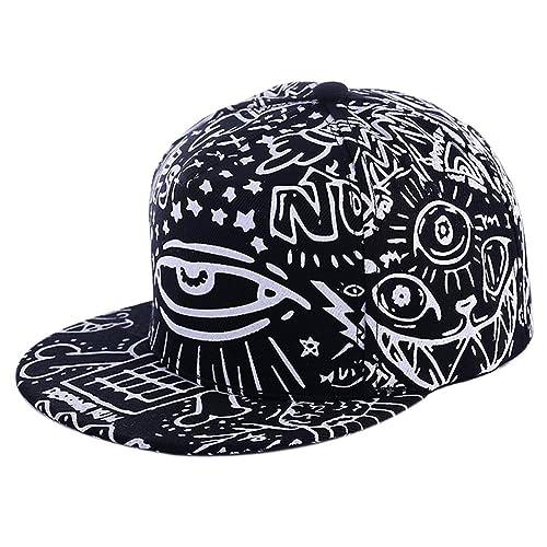 more photos 36906 73514 Salutto Men Women Graffiti Eyes Hip-hop Baseball Cap Sunsreen Flat-brimmed Hat  Black