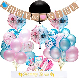 "Gender Reveal Party Supplies and Baby Shower Boy or Girl Kit (64 Pieces) - Including 36"" Reveal Balloon, Confetti Balloons, Banner, Photo Props and More"