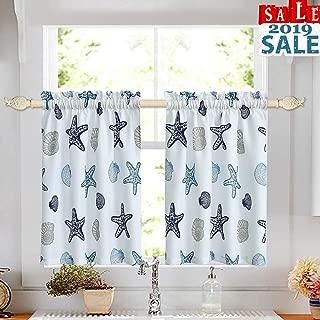 oremila Tier Curtains for Kitchen Windows Starfish café Curtains, Multicolor Seashell Conch Printed Half Window Curtain Set for Bathroom Rod Pocket, 27