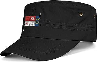 North Carolina NC State Flag Flying Pig Teenager Vintage Washed Cotton Regional Logo Army Hats Brim Flat Top Trucker Hat