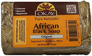 OKAY - African Black Soap - For All Skin Types - Cleanses and Rejuvenates - Nourishes and Heals - Free of Sulfate, Silicon...