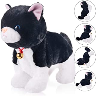 Black Plush Robot Cat Stuffed Animal Interactive Cat Robot Toy, Barking Meow Kitten Touch Control, Electronic Cat Pet, Cat Kitty Toy, Animated Toy Cats for Girls Baby Kids L:12