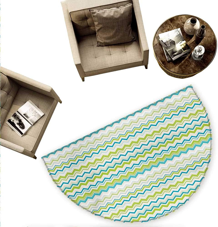 Teal and White Half Round Door mats Zig Zag Lines in Horizontal Order Chevron Triangles Geometric Bathroom Mat H 70.8  xD 106.3  Yellowgreen bluee Cream