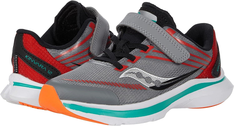 Saucony Kinvara 12 Alternative Closure Running Shoe, Grey/Orange, 2 US Unisex Big Kid