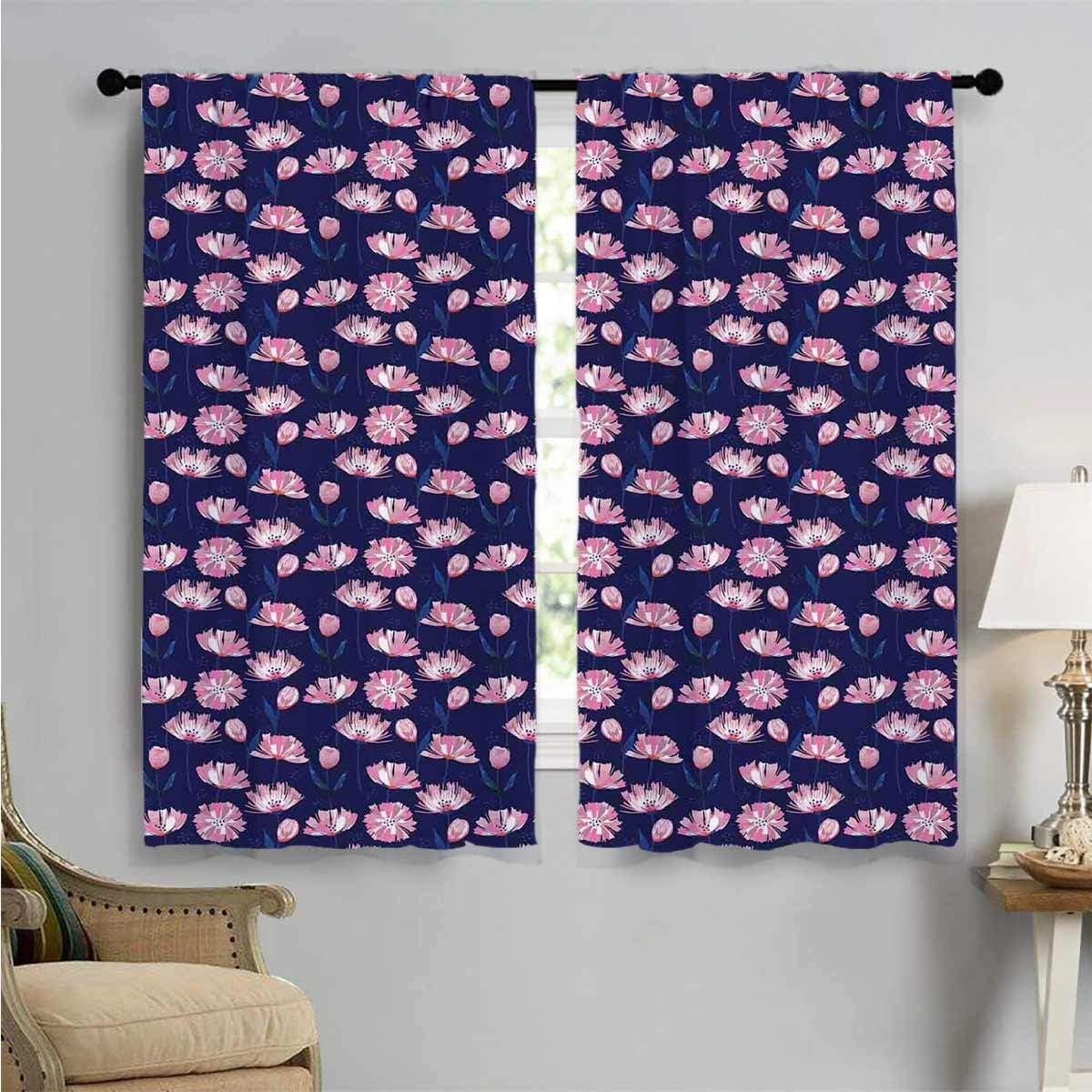 Room Darkening Curtains Garden Poppies Art Pink Decor Max 76% OFF Ranking TOP2