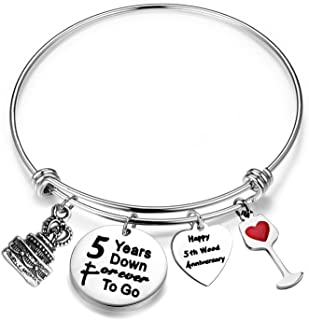 FEELMEM Anniversary Gift for Her Adjustable Wedding Anniversary Bracelet Bangle with Anniversary Cake Charm,1st 2nd 5th 10th 25th 30th Bangle Gift