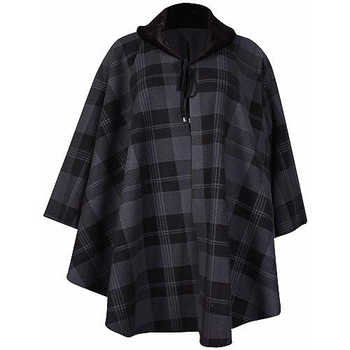 b305d847395 PurpleHanger Women s Plus Size Check Print Poncho Cape Coat