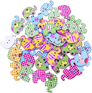 Polytree 50pcs Multicolored Cartoon Animal 2 Holes Wood Sewing Buttons (Elephant)