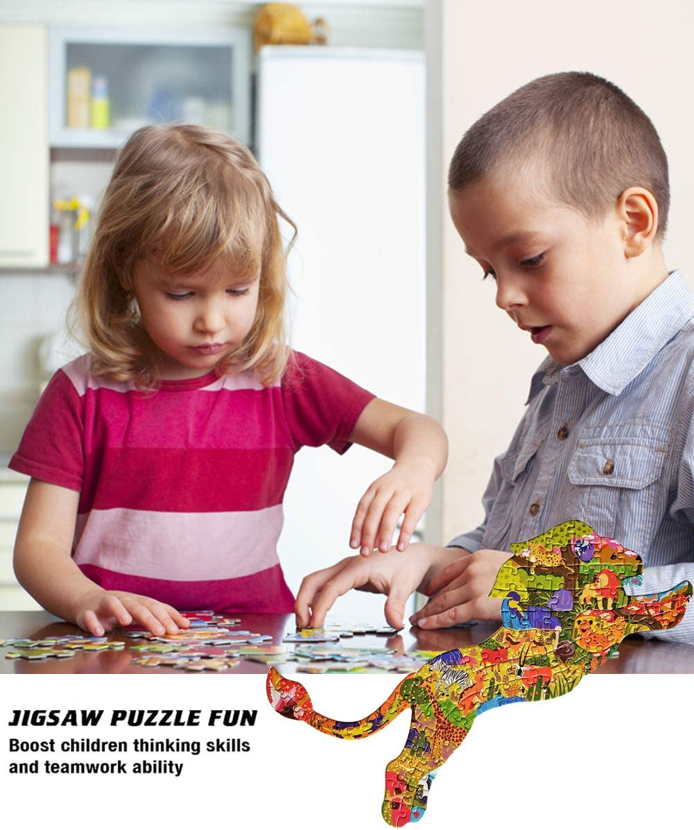 Family Friends Jigsaw Puzzle for Kids Ages 4-8 Lion Unique Animal-Shaped Floor Puzzle with Large Pieces Fun Challenge Educational Toys Gift for Girls and Boy 8-12 Adults