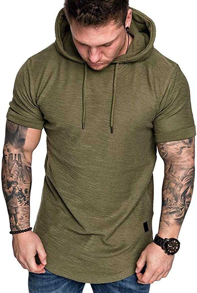 Fashion Mens Casual Short Sleeve Hoodie Slim Fit Popular Large Size Solid Sport Tops T Shirt Blouse