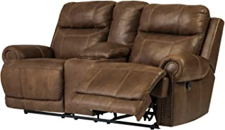 Ashley Furniture Signature Design - Austere Recliner Loveseat with Console - 1 Touch Power Reclining Sofa - Brown