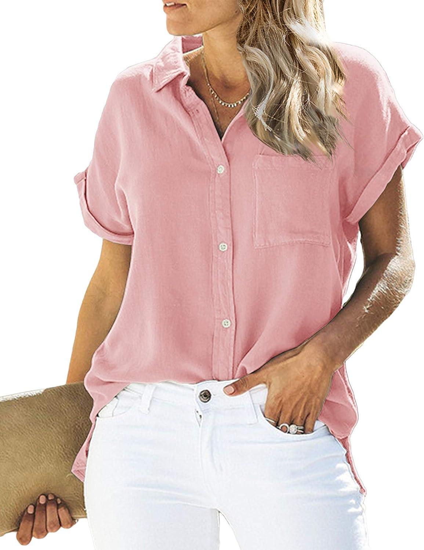 Womens Short Sleeve Button Down Shirts V Neck Linen Cotton Blouse Basic Simple Work Shirt Plain Tops