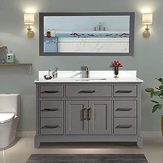 Vanity Art 60 Inch Single Sink Bathroom Vanity Set | Super White Phoenix Stone, Soft Closing Doors Undermount Rectangle Sinks with Free Mirror - VA1060-G