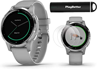 PlayBetter Garmin vivoactive 4S (Silver/Gray Band) Fitness Smartwatch Power Bundle | 2019 Model | with HD Screen Protectors (x4) Portable Charger | Spotify, Music, Garmin Pay, Menstrual Tracking