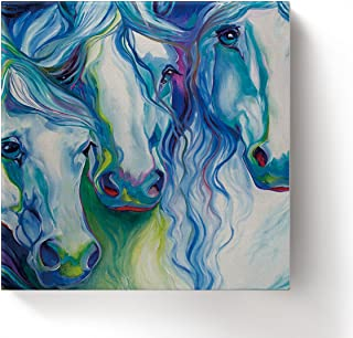 Framed Wall Arts-Abstract Watercolor Horses Giclee Canvas Prints Gallery Wrapped Modern Artwork Animal Pictures Paintings for Home Decoration,Square,Ready to Hang