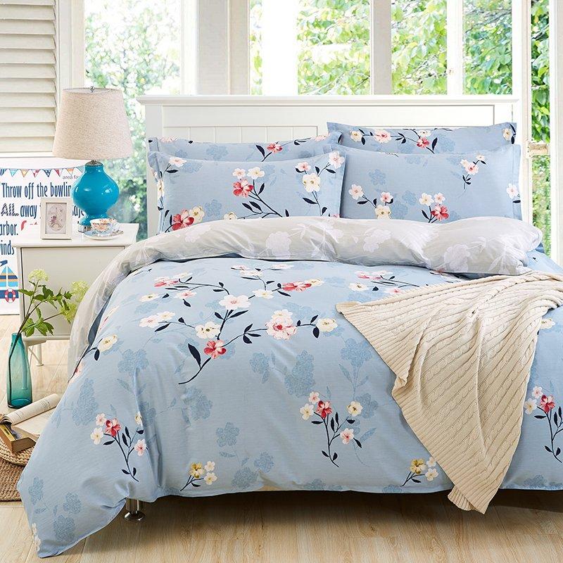 YOTA星月兔 全棉斜纹印花四件套 床单款设计 活性印染 1.5/1.8米床适用(200*230cm)袅袅心香