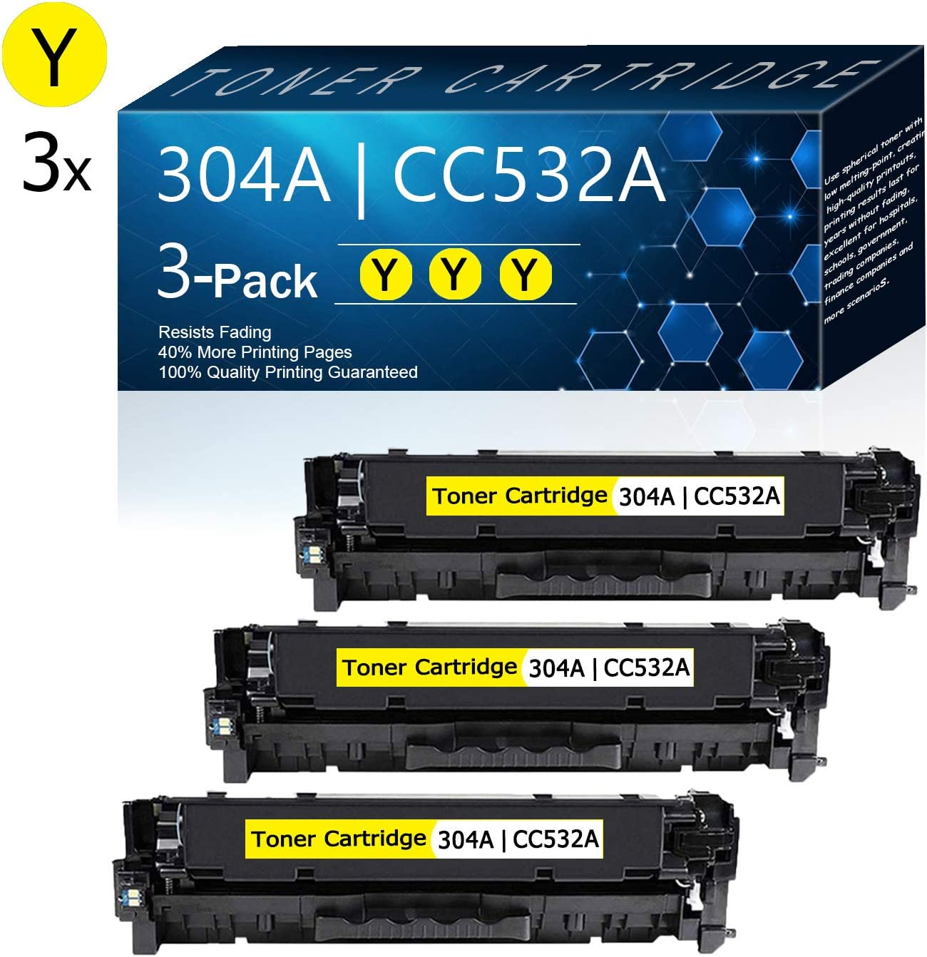 3 Pack Yellow 304A   CC532A Compatible Remanufactured Toner Cartridge Replacement for HP Color CP2025 CP2025n CP2025dn CP2025x CM2320n MFP 3CM2320fxi MFP CM2320nf MFP Printers Toner.