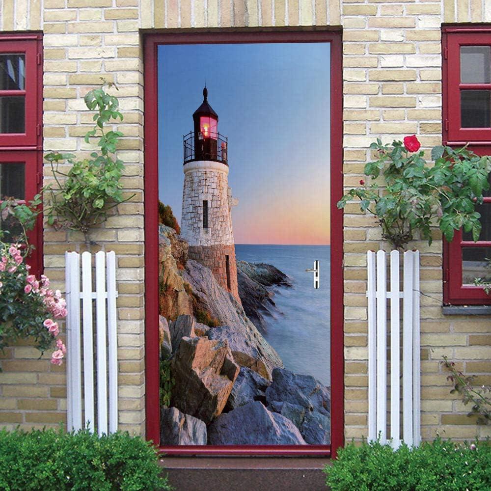 ZWLZJO 3D Trust Self-Adhesive Door Sticker Blue Lighthouse sea National uniform free shipping Landsca