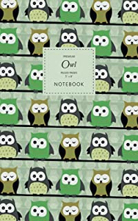 Owl Notebook - Ruled Pages - 5x8 - Premium: (Green Edition) Bird of Prey Notebook 96 ruled/lined pages (5x8 inches / 12.7x...