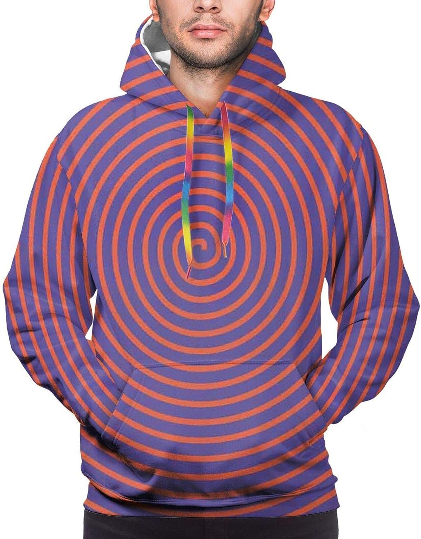 Men's Hoodies Sweatshirts,Hypnotic Background with Circular Spirals with Cartoon Sea Reptile