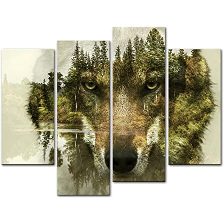 Amazon Com 5 Piece Indian Man In Ethnic Feather With Wolf Canvas Painting Native American Wall Art Picture Modern Poster Print Mystic Artwork Home Decor For Living Room Bedroom Office Ready To Hang 60 Wx40 H