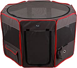 Petsfit Pop Up Dog Playpen,Removable Zipper Top and Bottom, Foldable Exercise Pen, Outdoor Play Yard Use
