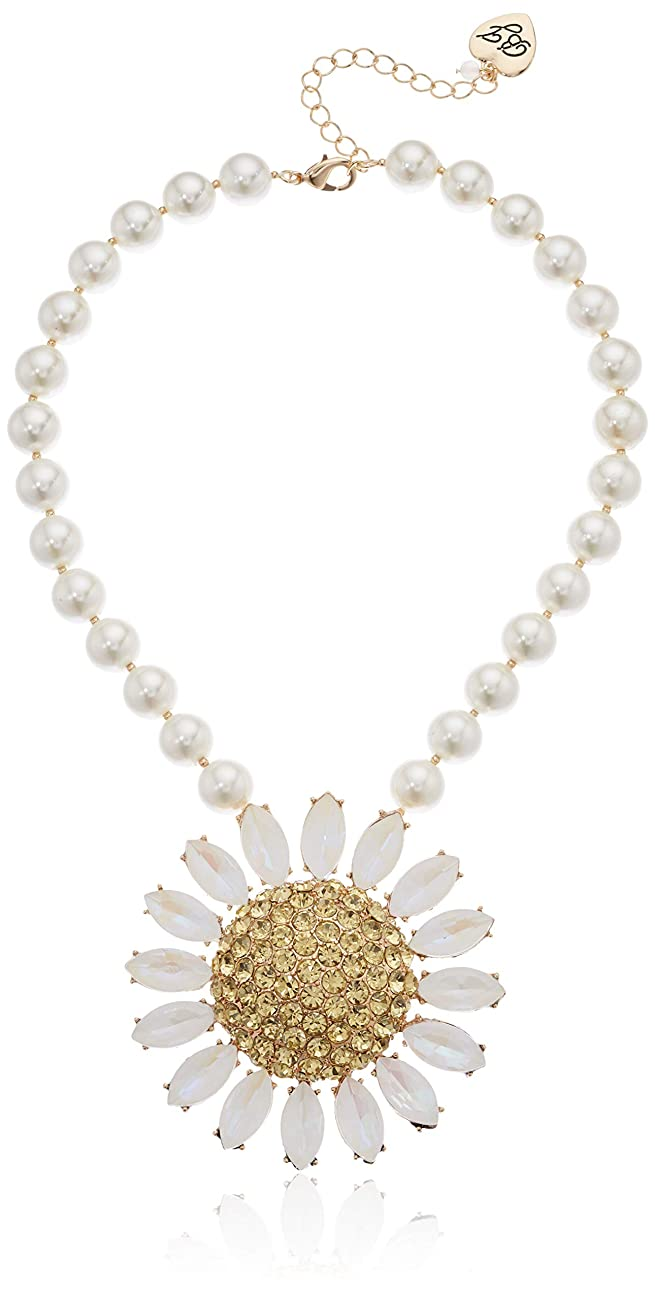 Betsey Johnson (GBG) Women's Large Pave Daisy Flower Pendant Pearl Strand Necklace, Yellow, One Size