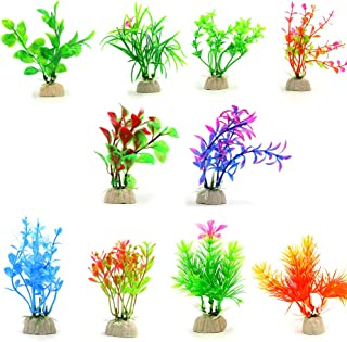 COMSUN 10 Pack Artificial Aquarium Plants, Small Size 4 to 4.5 inch Approximate Height..