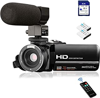 Video Camera Camcorder FHD 1080P 24.0MP Digital Camera YouTube Vlogging Camera 3.0 inch IPS Touch Screen IR Night Vision 1...