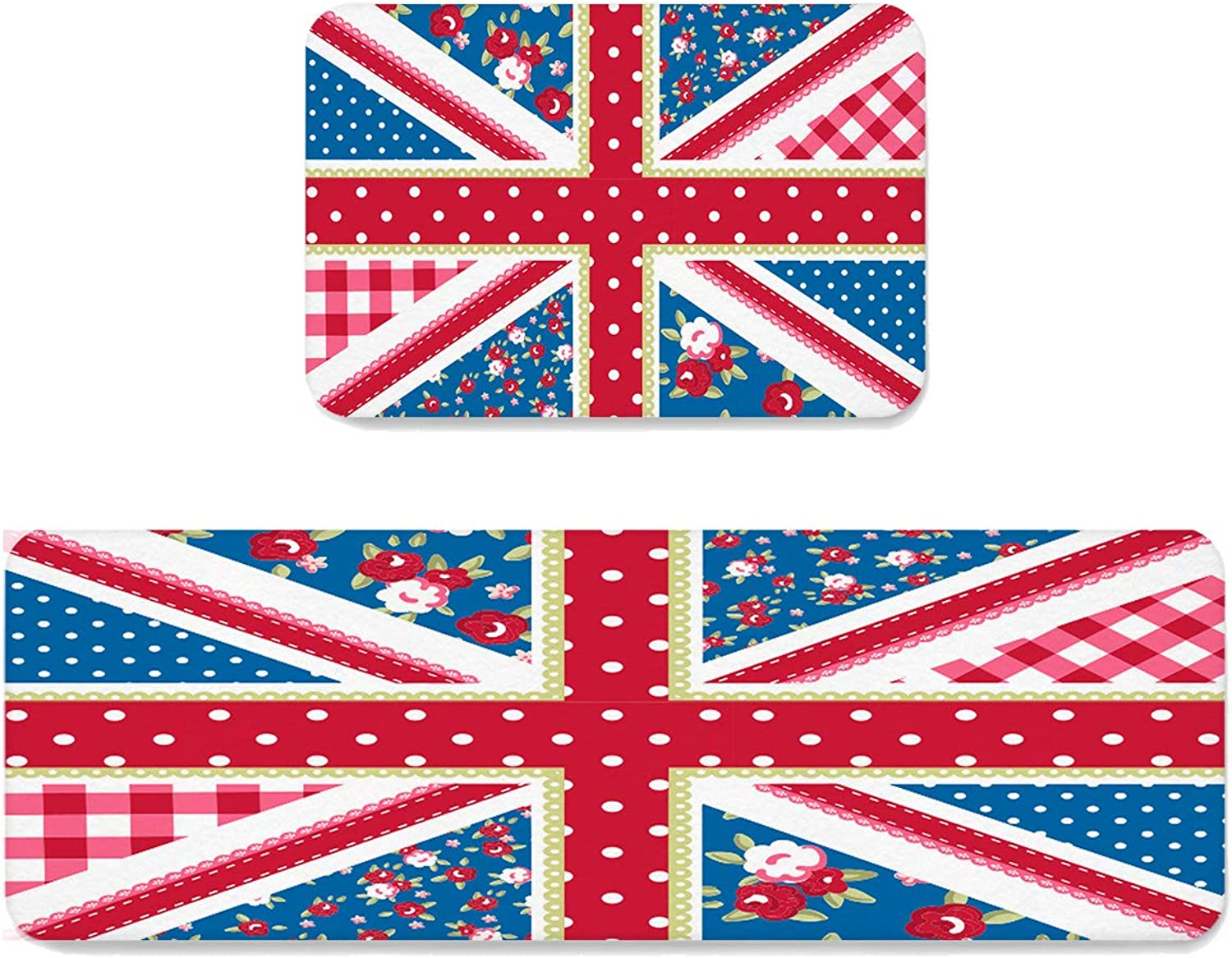 Sun-Shine Indoor Area Runner Rugs Water Absorb Doormats 2 Pieces, Britain National Flag Non-Slip Mat Entrance shoes Scraper Carpet Pads for Kitchen Hallway Floor Decorations, UK Flag and Floral