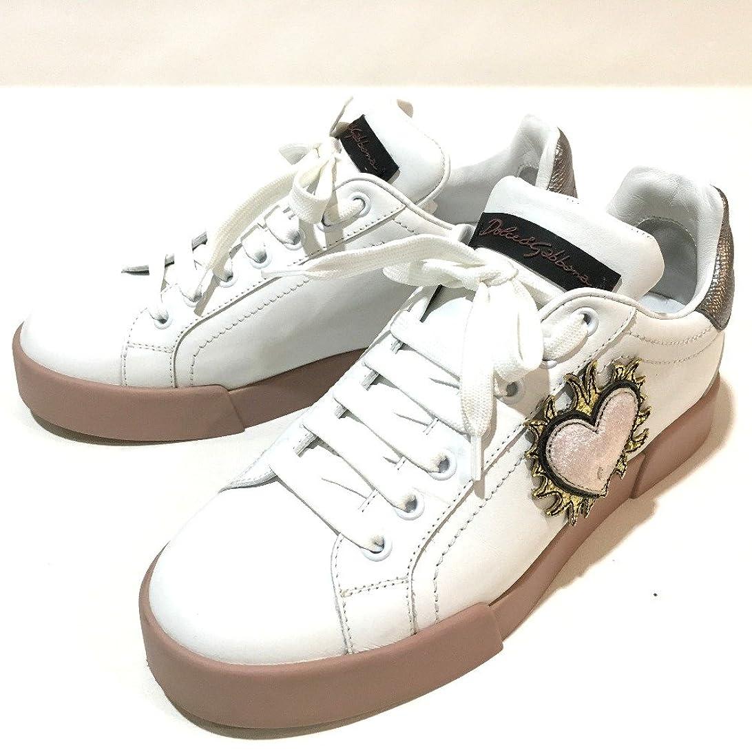 カブ仕方突然の(ドルチェアンドガッバーナ) DOLCE&GABBANA パッチ付き LOVE ハート 靴 スニーカー レザー レディース 新品同様 中古