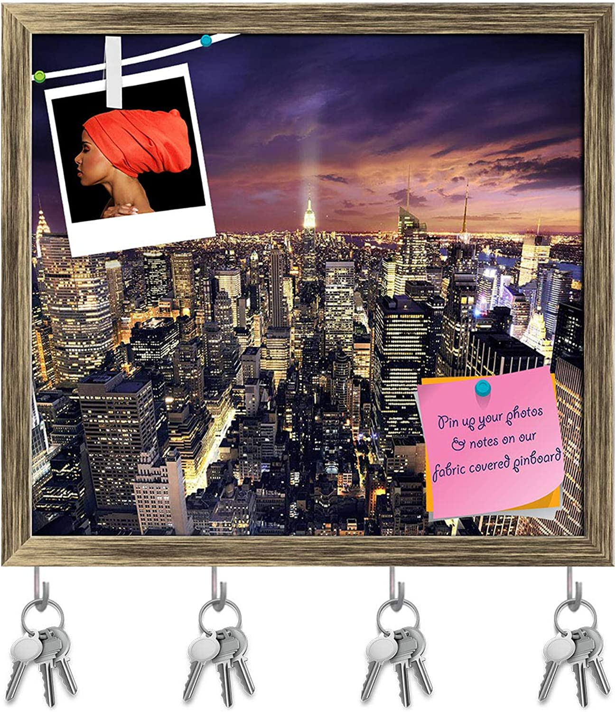 Artzfolio Big Apple After Sunset, Manhattan, New York, USA D2 Key Holder Hooks   Notice Pin Board   Antique golden Frame 17.5 X 16Inch