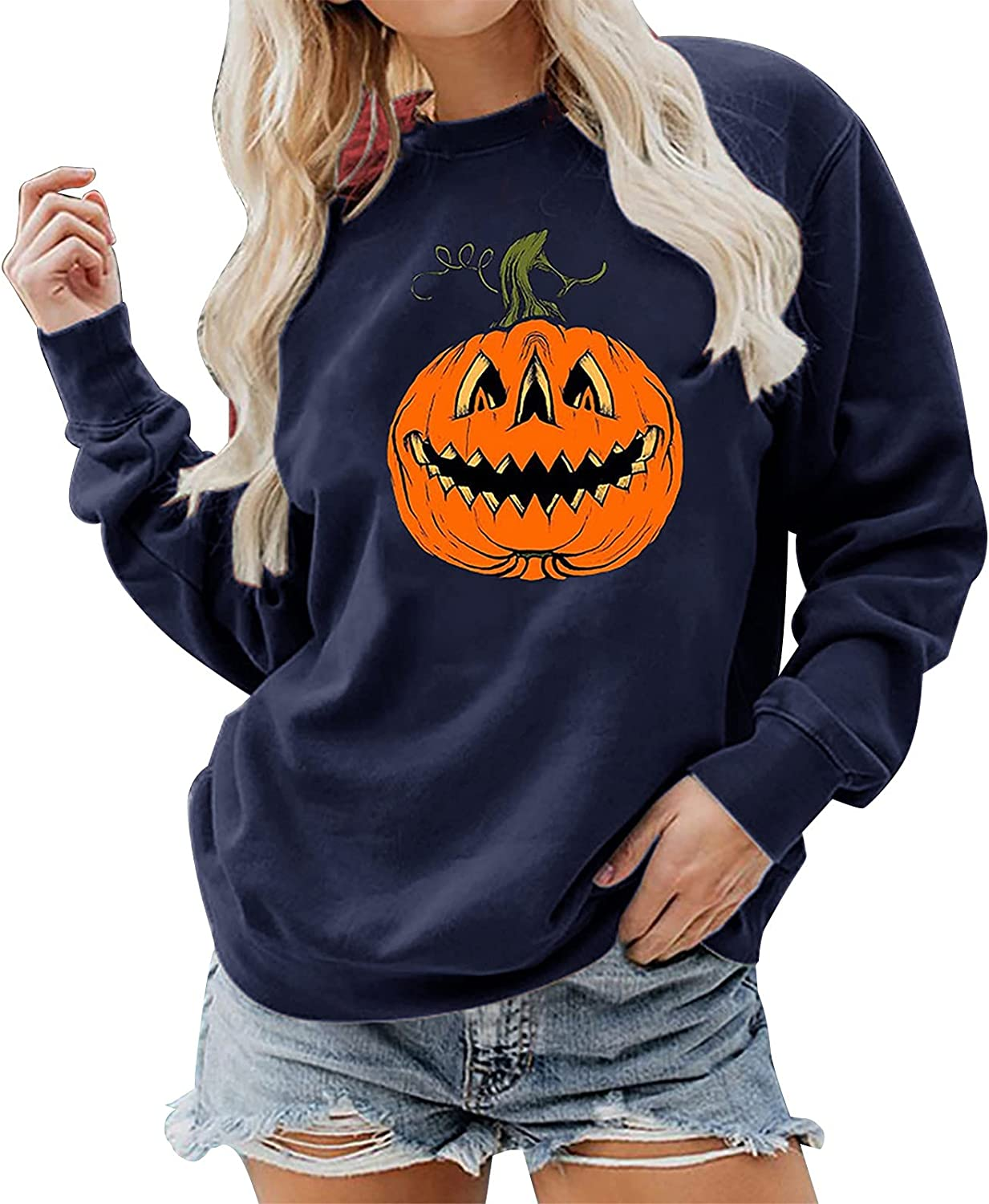 VonVonCo Pullover Sweaters for Women Personality Print Blouses Round Neck Fashion Loose Long Sleeve Sweatshirt Tops