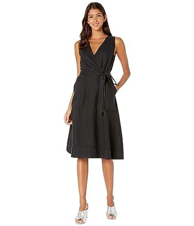 Michael Stars Woven Linen Lenox Utility Wrap Dress (Black) Women