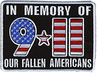 Hot Leathers, IN MEMORY OF 911 OUR FALLEN AMERICANS, Iron-On / Saw-On, Heat Sealed Backing Rayon 9-11 PATCH - 4