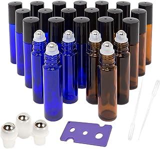 24 PACK Essential Oil Roller Bottles with Stainless Steel Roller Balls, 12 Amber Roller Bottles (0.34OZ) and 12 Cobalt Blue Roller Bottles (0.34OZ), include 1 Opener, 2 Clear Plastic Transfer Pipette,
