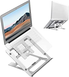 Ditucu Metal Laptop Stand for Desk,Foldable Portable Small Computer Table Tray Mount,Ergonomic Non-Slip Notebook Shelf for...