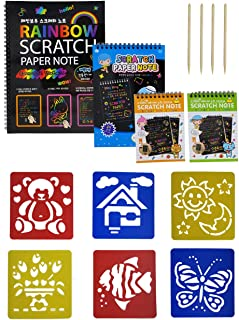 What's Fun Scratch Paper Drawing Pad-1 Large & 1 Medium & 2 Small-DIY Creative Draw Book with Funny Stencils