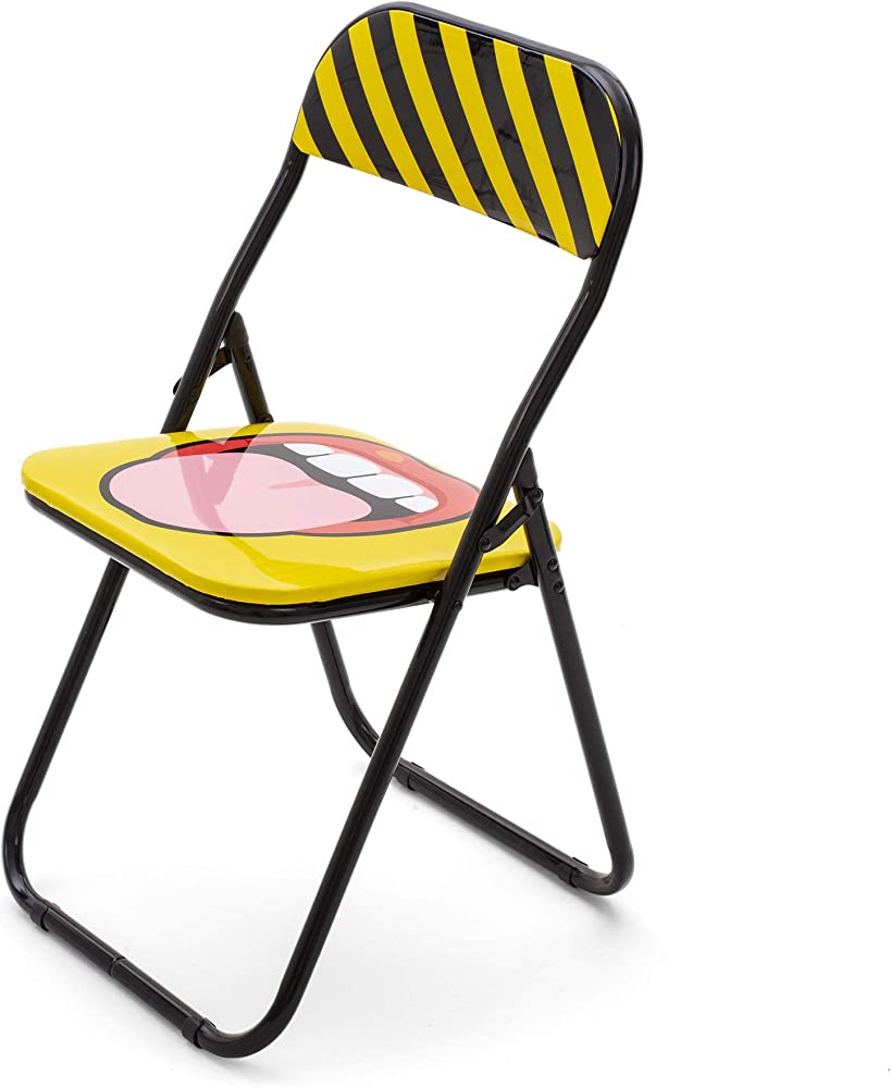 Seletti,job & seletti folding chairs, sedia pieghevole, tongue,in metallo, pvc 18559